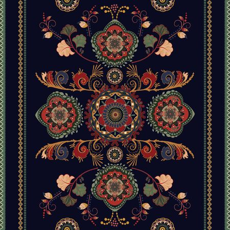 Colorful ornamental seamless vector design for rug, carpet, tapis. Seamless ornamental pattern. Geometric floral backdrop. Arabian ornament with decorative elements. Vector template Vektoros illusztráció