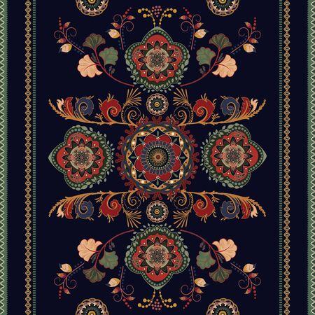 Disegno vettoriale senza cuciture ornamentale colorato per tappeto, tappeto, tapis. Motivo ornamentale senza soluzione di continuità. Contesto floreale geometrico. Ornamento arabo con elementi decorativi. Modello vettoriale Vettoriali