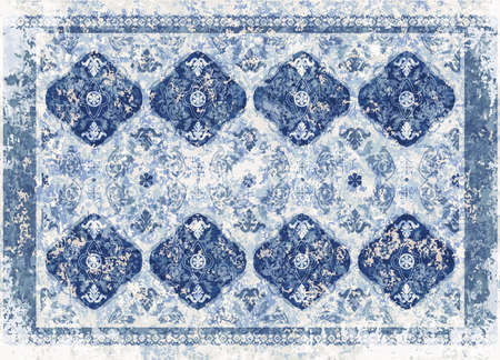 Design for carpet, rug, cover, print, tapestry. Ethnic ornament, monochrome. Indian, arabian style