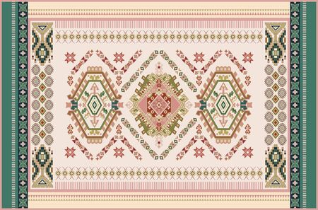 Colorful ornamental vector design for rug, carpet, tapis. Persian rug, textile. Geometric floral backdrop. Arabian ornament with decorative elements. Vector template Ilustração