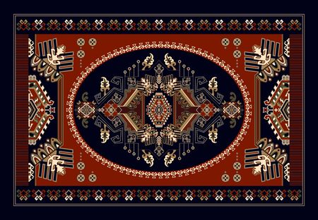 Colorful ornamental vector design for rug