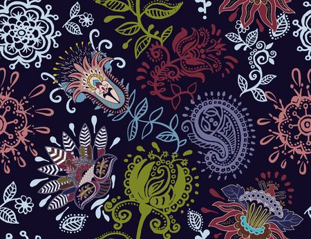 Dark seamless floral pattern. Decorative flowers and paisley wallpaper. Indian, arabian background. Colorful design for textile, fabric, wrapping paper, rug, backdrop, background.