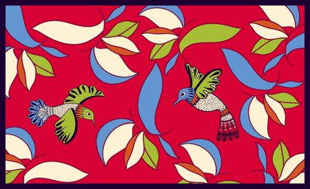 Colorful design for tapestry, rug, cover, carpet, shawl. Two decorative birds fly among the leaves. Red nature background with ornamental plants. Nature wallpaper template. Vector design for mat