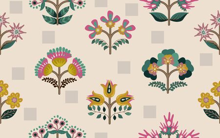 Floral seamless pattern. Decorative small flowers wallpaper. Nature background. Floral template, symmetric elements. Design for fabric, wrapping paper, cover, textile, rug