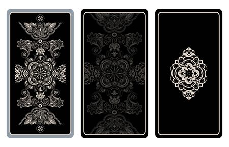 Vector illustration design for Tarot cards. Geometric lace template Black and white contrast design