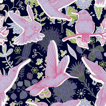 Colorful vector seamless pattern. Black and pink floral wallpaper with birds. Vector clipart. Design for textile, fabric, cover, wallpaper, background, backdrop, print, rug Ilustração