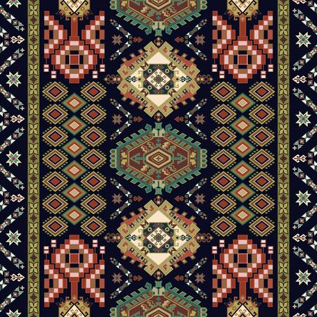 Colorful ornamental seamless pattern. Vector clipart. Ethnic geometric background. Symmetric ornamental wallpaper. Design for fabric, textile, rug, cover, wallpaper.