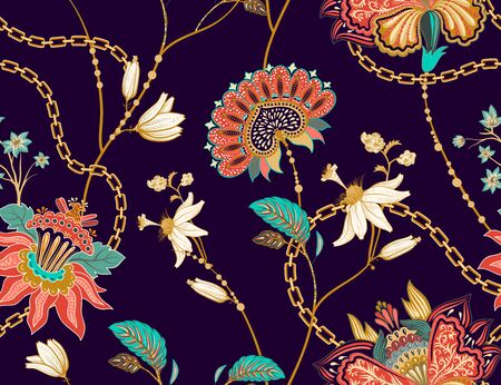 Colored seamless pattern with decorative flowers and leaves. Tropical vector background. Design for fabric, carpet, textile, wrapping paper.