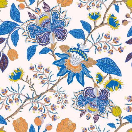 Indian ornamental wallpaper. Folk indian pattern. Paisley ornament background. Asian dark wallpaper. Seamless ornamental backdrop