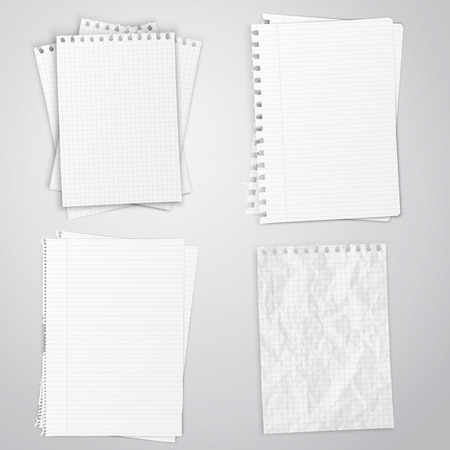note pad: Set of white papers, vector illustration