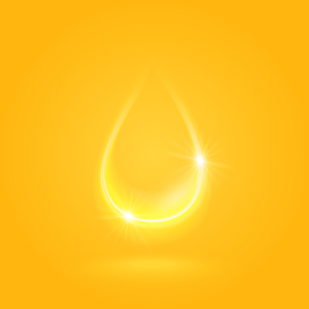 Golden sparkling oil drop, vector illustration, eps10