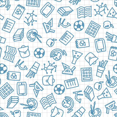 Cute seamless school background, vector illustration