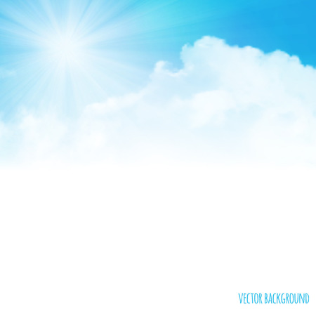 Summer background with clouds on the sky, vector