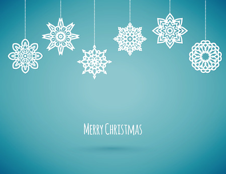 blue stars: Merry christmas card with snowflakes, vector illustration