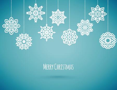 temporada: Feliz tarjeta de Navidad con copos de nieve, ilustración vectorial