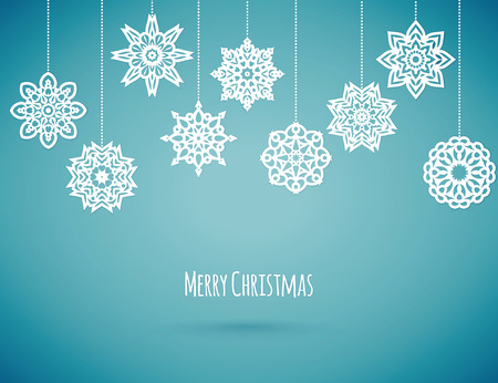 fall winter: Merry christmas card with snowflakes, vector illustration