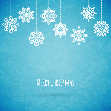 december holidays: Merry christmas card with snowflakes, vector illustration