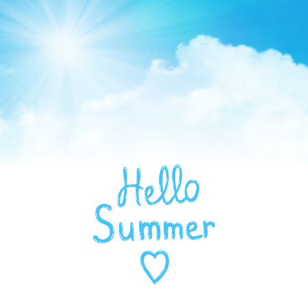 dramatic clouds: hello summer text with sun over clouds Illustration