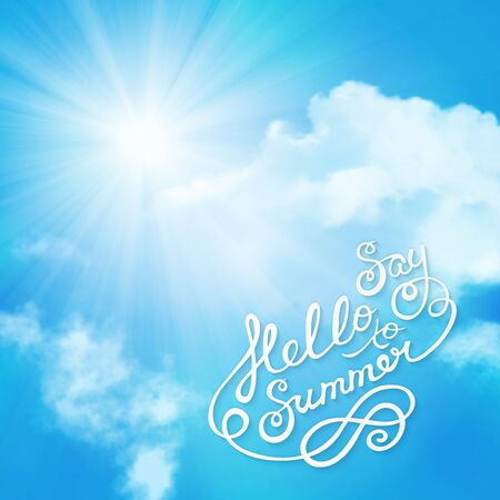 say hello: say hello to summer text with sun over clouds Illustration