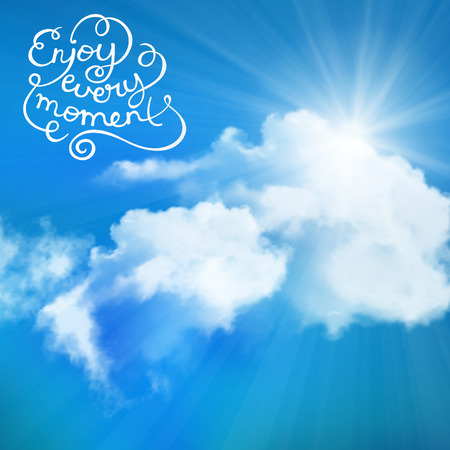 sunbeam background: Enjoy every moment text with sun over clouds Illustration