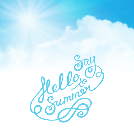 say hello: say hello to summer with sun over clouds Illustration