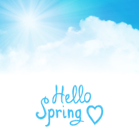 belive: hello spring text with sun over clouds Illustration
