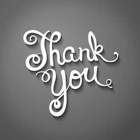 Thank you hand lettering, handmade calligraphy Illustration