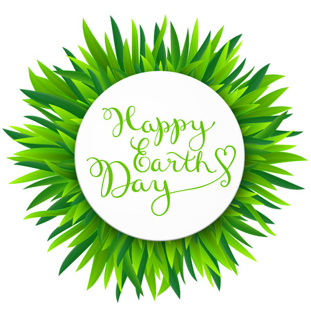 earth day: Happy earth day on grass Illustration