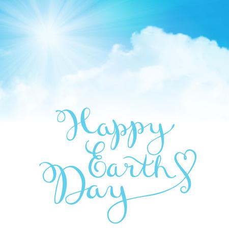 Happy earth day, handmade calligraphy Stock Illustratie