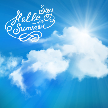 say hello: background of say hello to summer text, sun over clouds Illustration