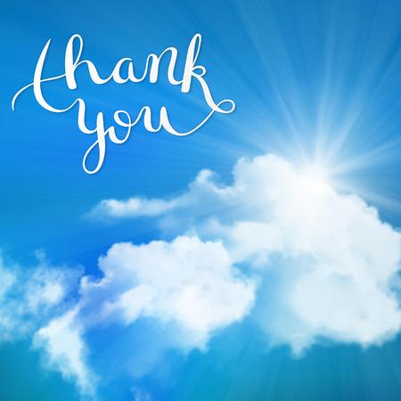 Thank you hand lettering, handmade calligraphy, vector illustration Stock Illustratie