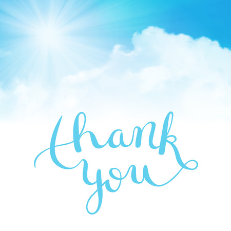 thank: Thank you hand lettering, handmade calligraphy illustration
