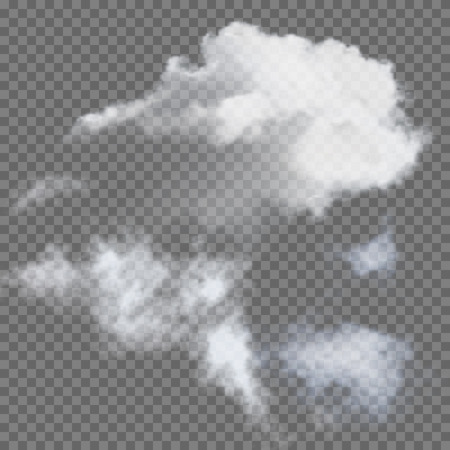 Set of transparent different clouds illustration Çizim
