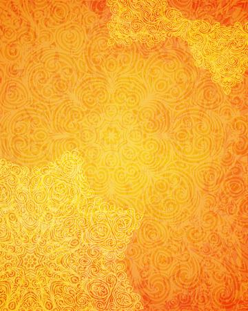Indian tribal orange pattern, vector illustration  イラスト・ベクター素材