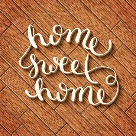 Home sweet home, handmade calligraphy, vector illustration 版權商用圖片 - 41260216