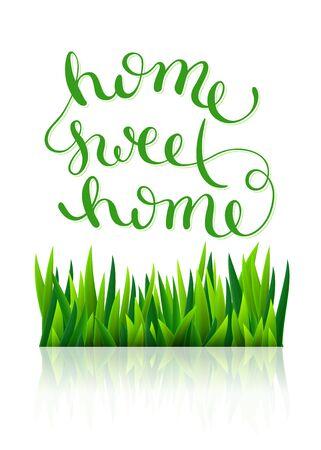 housewarming: Home sweet home, handmade calligraphy, vector illustration