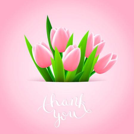 flowers beautiful: Thank you with tulip flowers, beautiful card, vector illustration