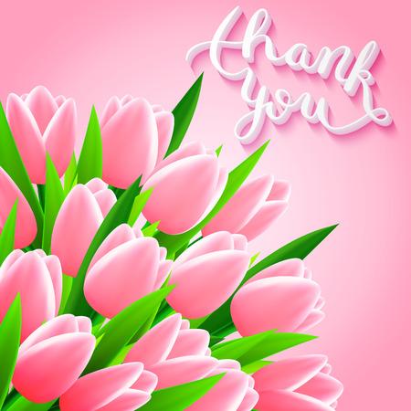 Dank u met tulp bloemen, mooie kaart, vector illustratie