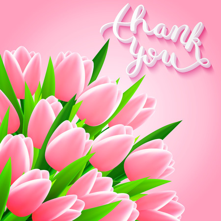 3d heart: Thank you with tulip flowers, beautiful card, vector illustration