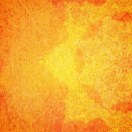 Orange ethnischen indischen Ornament mit Hand gezeichneten Elemente.