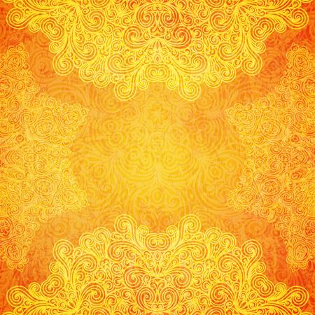 Orange ethnischen indischen Ornament mit Hand gezeichneten Elemente. Standard-Bild - 42249345
