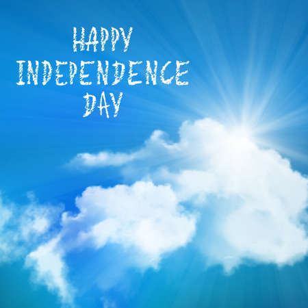 independence day: Happy Independence Day over sky