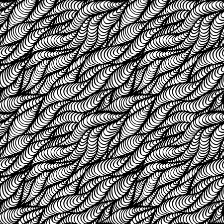 Black white seamless hand-drawn pattern with waves