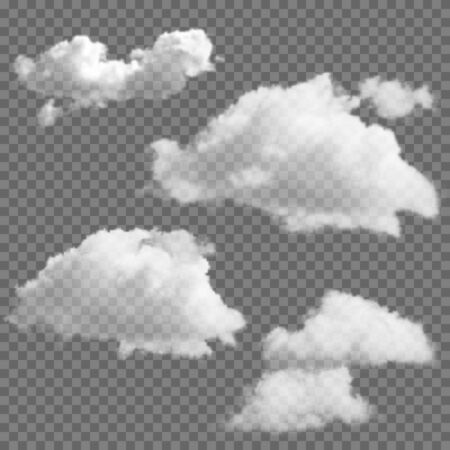 Set of transparent clouds. Realistic vector design elements.