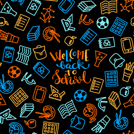 school class: Bright seamless pattern with set of school icons, brush,ball,apple, notebook, tablet, globe, microscope, ruler, backpack, paint.