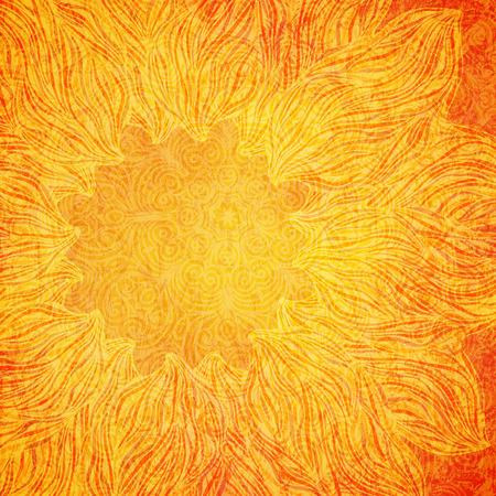 Bright orange background with tribal pattern, vector illustration Stock Illustratie