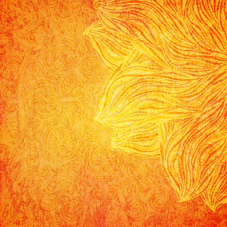 Bright orange background with tribal pattern, vector illustration Çizim
