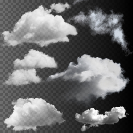 Big set of transparent clouds. Realistic vector design elements.
