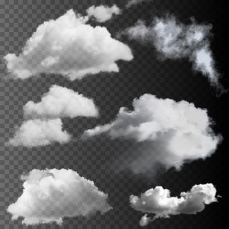 Big set of transparent clouds. Realistic vector design elements.