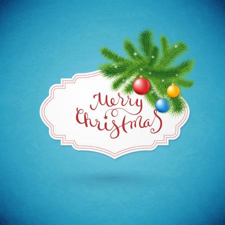 joyeux noel: Belle carte Joyeux Noël avec sapin et des flocons de neige. Illustration